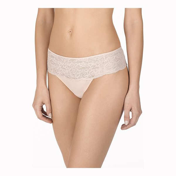 """NATORI Retouch Lace-Trim Thong - Natori """"Retouch"""" thong pairs baby-soft lace with easy,..."""