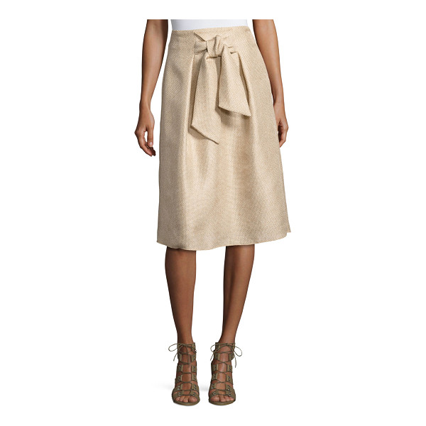 JOSIE NATORI Tie-Front A-Line Skirt - Natori textured tie-front circle skirt. Sits at the natural...