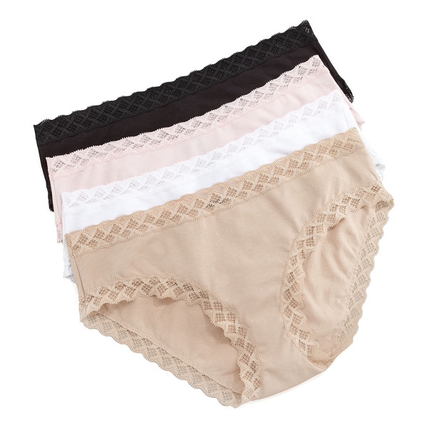 NATORI Bliss Cotton Girl Briefs - Blushing pink stretch knit with tonal lace trim. Low rise....