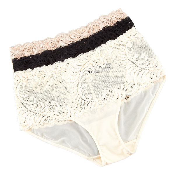 NATORI Feather High-Waist Briefs - Choose black, cafe (nude), or cream. Tonal feather lace...