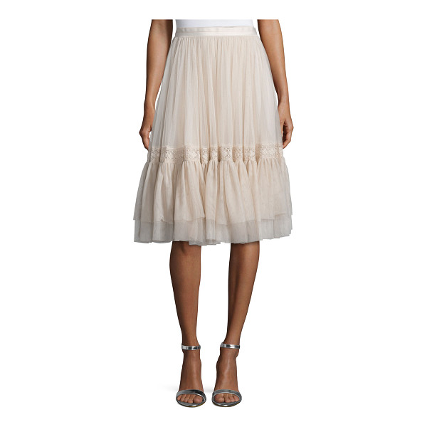 NEEDLE & THREAD High-Waist Tulle Skirt W/Lace Trim - Needle & Thread tulle skirt with lace detail. Sits at the...
