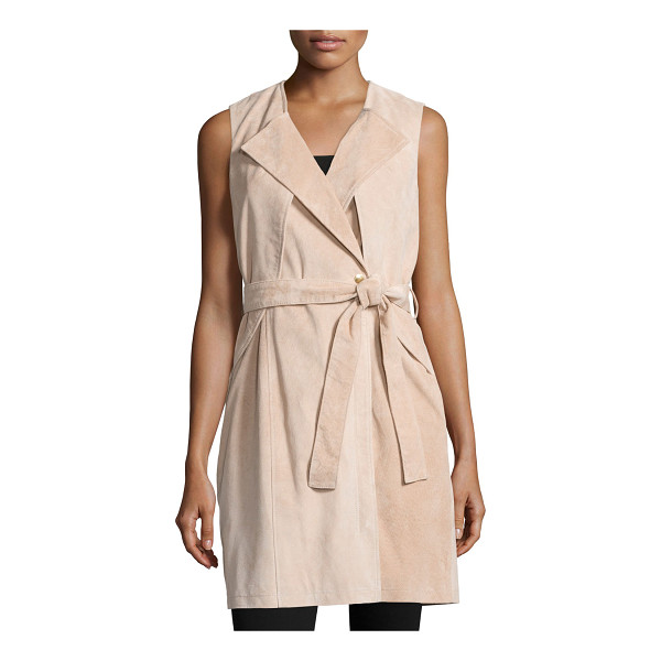 NEIMAN MARCUS Belted Suede Trench Vest - EXCLUSIVELY AT NEIMAN MARCUS Suede trench vest. Collarless;...