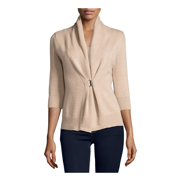 NEIMAN MARCUS CASHMERE COLLECTION 3/4-Sleeve Cashmere & Lurex® Half-Sleeve Buckle Cardigan - ONLYATNM Only Here. Only Ours. Exclusively for You. 7GG,...