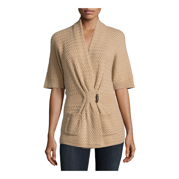 NEIMAN MARCUS CASHMERE COLLECTION Cashmere basketweave toggle-front cardigan - ONLYATNM Only Here. Only Ours. Exclusively for You....