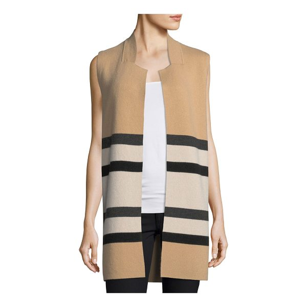 NEIMAN MARCUS CASHMERE COLLECTION Double-Knit Striped Cashmere Vest - 9GG, 2-ply striped cashmere vest. Partial stand collar;...