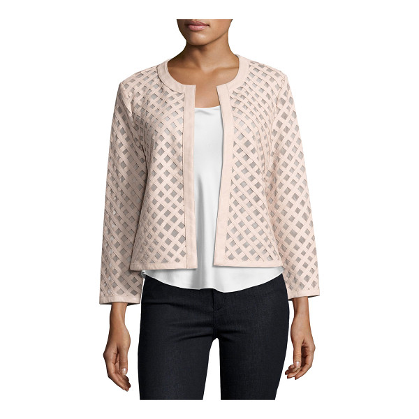 NEIMAN MARCUS Leather Grid Jacket - EXCLUSIVELY AT NEIMAN MARCUS Neiman Marcus leather/mesh...