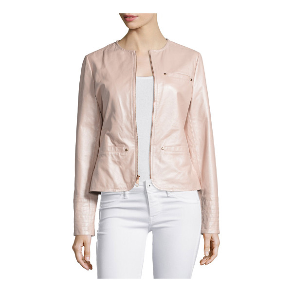 NEIMAN MARCUS Pearlized Leather Jacket - EXCLUSIVELY AT NEIMAN MARCUS Leather jacket with pearlized...