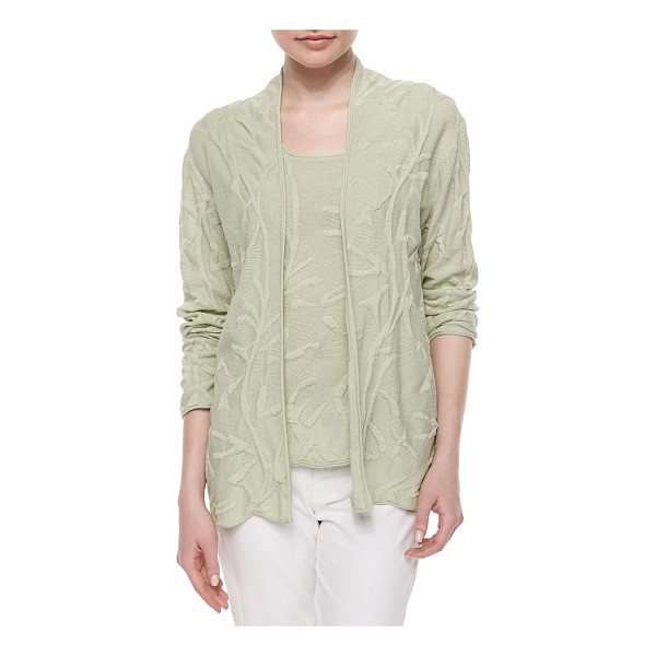 NEIMAN MARCUS Puff-textured cardigan - Our exclusive puff-textured cardigan; rolled edges. Approx....