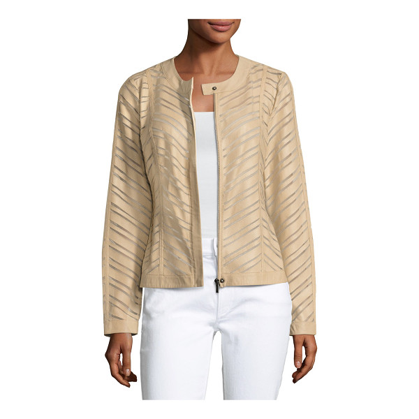 NEIMAN MARCUS Striped Leather Jacket - ONLYATNM Only Here. Only Ours. Exclusively for You. Neiman...