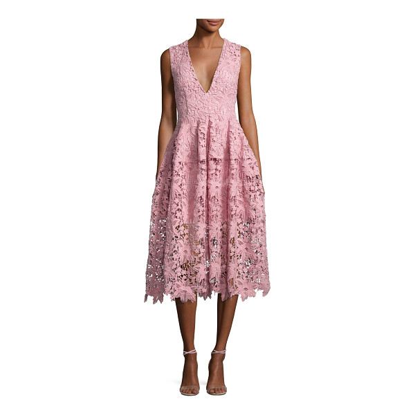 """NICHOLAS Bellflower Guipure Lace Sleeveless V-Neck Ball Dress - Nicholas """"Bellflower"""" ball dress in floral guipure lace...."""