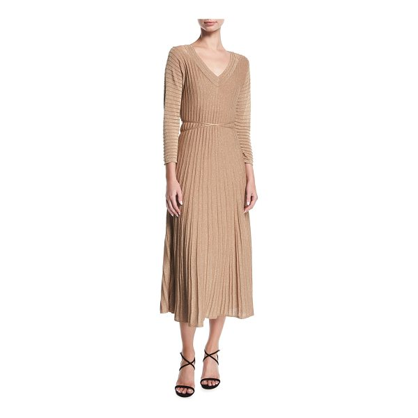 NIC+ZOE Open-Shoulder Shimmer Pleated Midi Dress - NIC+ZOE dress in shimmered, pleated knit. V neckline; cold...