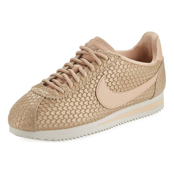 NIKE Fashion Cortez Embossed Sneaker - Nike snake-embossed leather sneaker with signature check at...
