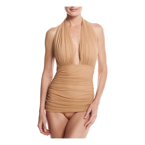 "NORMA KAMALI Bill Ruched-Mesh Halter Maillot Swimsuit - Norma Kamali ""Bill"" one-piece swimsuit in mesh microfiber...."