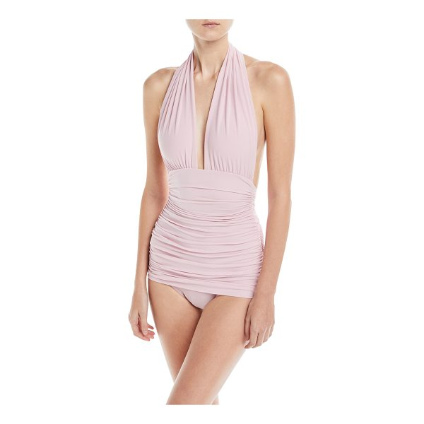NORMA KAMALI Plunging Halter Ruched One-Piece Swimsuit - Norma Kamali swimsuit in solid microfiber with ruching...