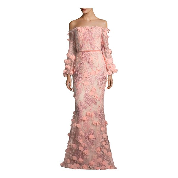 Marchesa Notte 3D Embroidered Strapless Tea Length Gown ...