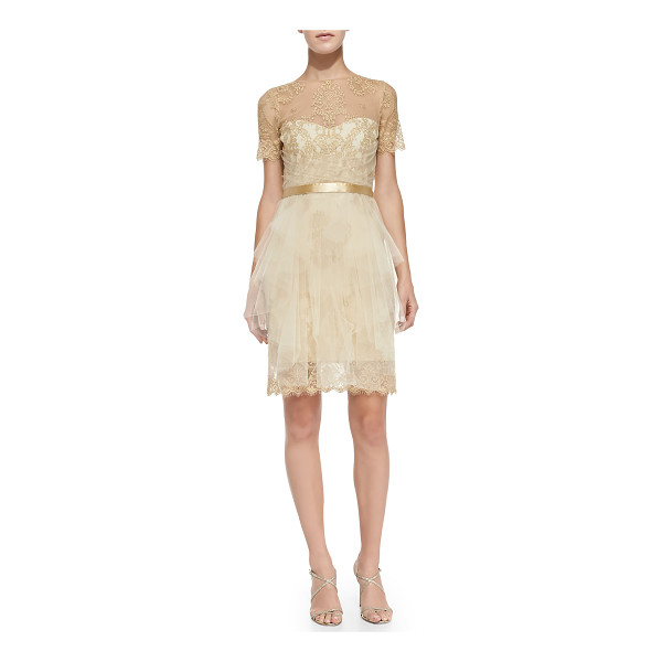 NOTTE BY MARCHESA Short-sleeve lace & tulle cocktail dress -  Lace cocktail dress by Notte Marchessa with overlaid tulle...