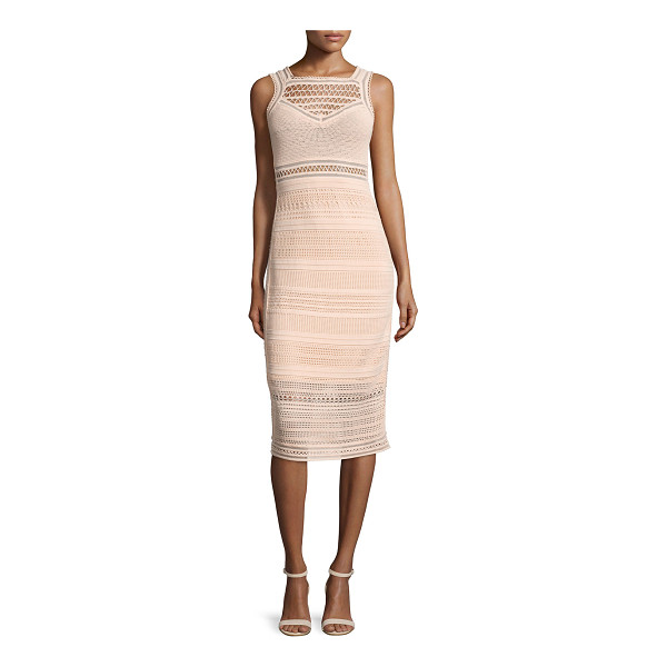 "OHNE TITEL Sleeveless crochet-knit midi sheath dress - Ohne Titel crochet-knit dress. Approx. length: 39""L down..."