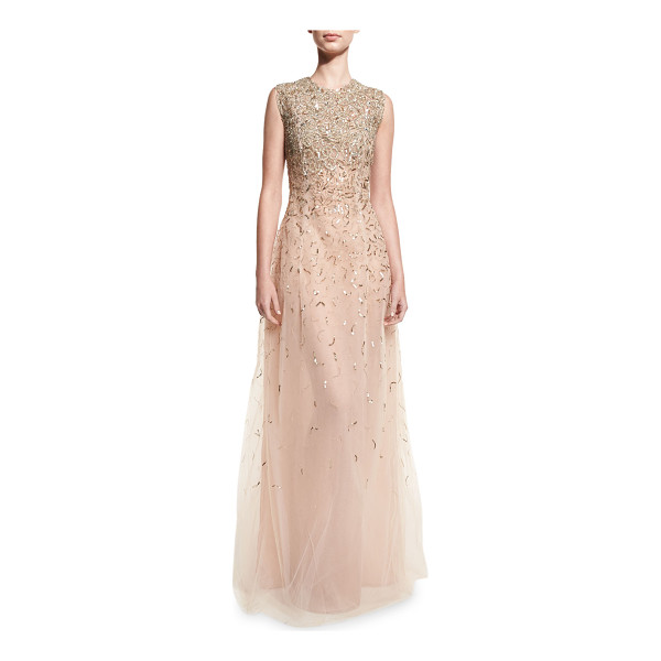 OSCAR DE LA RENTA Embellished Sleeveless A-Line Gown - Oscar de la Renta beaded and sequined tulle gown. Jewel...