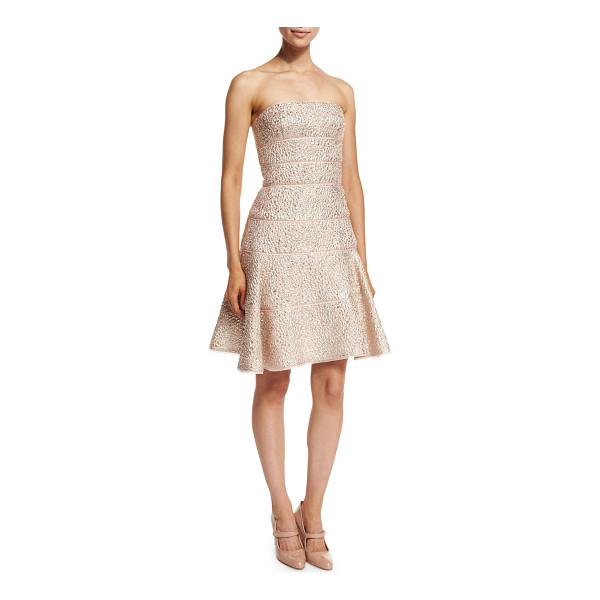 OSCAR DE LA RENTA Strapless Fit-&-Flare Cocktail Dress - Oscar de la Renta metallic jacquard cocktail dress....
