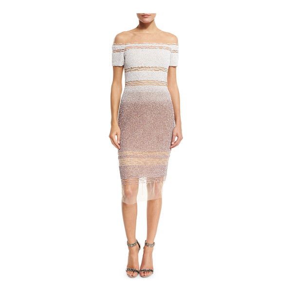 "PAMELLA ROLAND Signature Sequined Illusion Dress - Pamella Roland sequined illusion dress. Approx. 44""L down..."