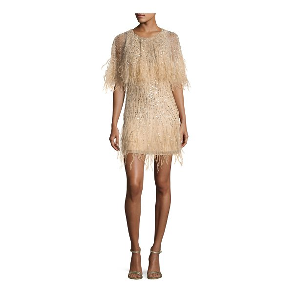 "PARKER BLACK Kendra Embellished Feather Fringe Cape Cocktail Dress - Parker ""Kendra"" mini cocktail dress with beaded stripes...."