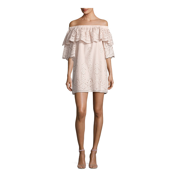 "PARKER Cathy Eyelet Off-the-Shoulder Dress - Parker ""Cathy"" embroidered-eyelet cotton dress with ruffle..."