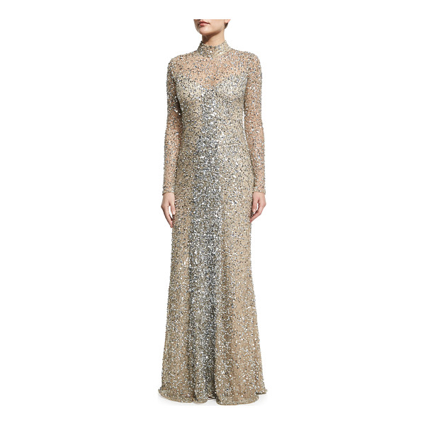 "PARKER Leandra Long-Sleeve Beaded Gown - Parker Leandra"" evening gown with beading. Mock neckline..."