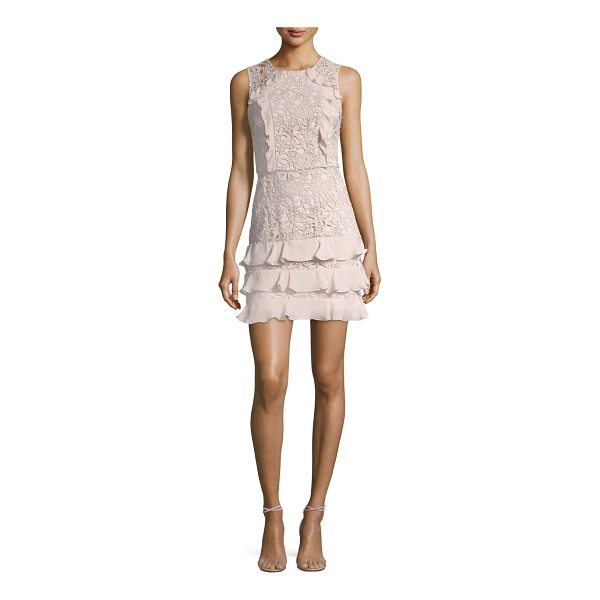 "PARKER Zahara Combo Sleeveless Lace Cocktail Dress - Parker ""Zahara"" cocktail dress in lace guipure with ruffled..."