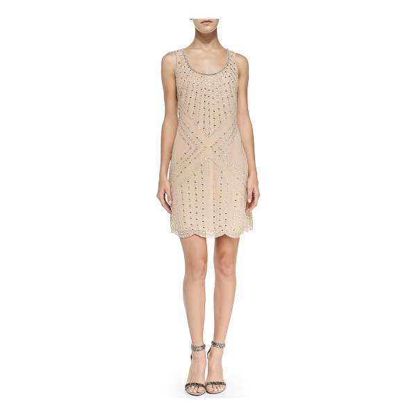 PHOEBE BY KAY UNGER Beaded pattern shift cocktail dress - Phoebe by Kay Unger beaded cocktail dress. Scoop neckline....