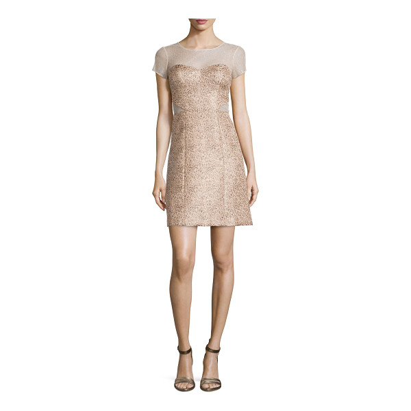 PHOEBE Short-sleeve illusion jacquard dress - Phoebe by Kay Unger jacquard dress with mesh insets....