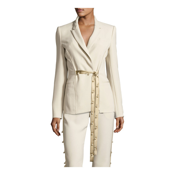 PRABAL GURUNG Pearly Tie-Front Blazer - Prabal Gurung crepe blazer. Notched collar; pearly self-tie...