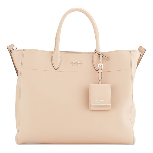 PRADA City Calfskin Tote Bag with Studded Strap - Prada soft calfskin tote bag with silvertone hardware....
