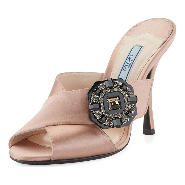 "PRADA Jeweled Satin 100mm Slide Sandal - Prada satin sandal with jeweled brooch at side. 4"" covered..."