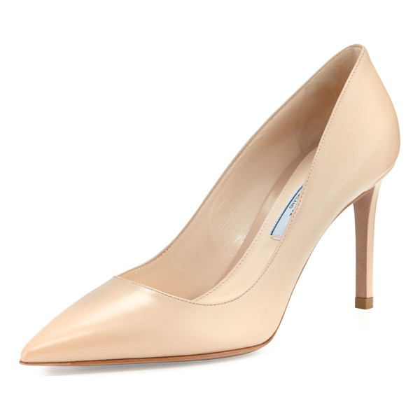 "PRADA Leather Pointed-Toe 85mm Pump - Prada leather pump. 3.3"" covered heel. Pointed toe; squared..."
