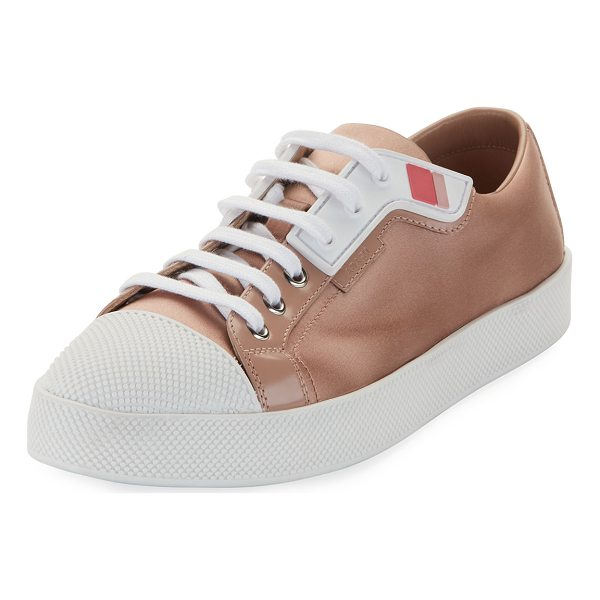PRADA LINEA ROSSA Satin Lace-Up Two-Tone Low-Top Sneaker - Prada Linea Rossa satin low-top sneaker with rubber trim....
