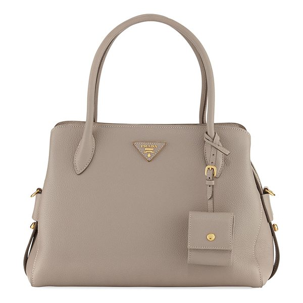 PRADA Medium Vitello Daino Top-Handle Bag - Prada pebbled leather bag with golden hardware. Rolled top...