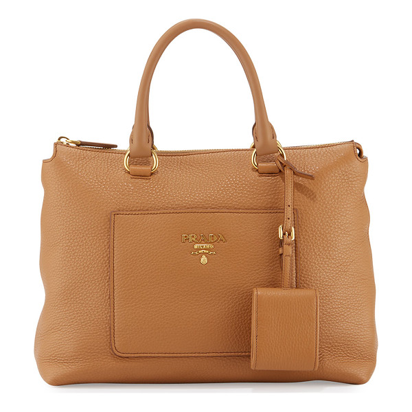 PRADA Pebbled leather tote bag - Prada pebbled leather tote bag with golden hardware. Rolled...