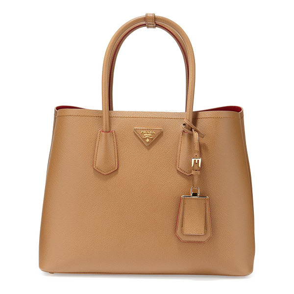 PRADA Saffiano cuir double medium tote bag - Prada saffiano leather tote bag. Rolled top handles with...