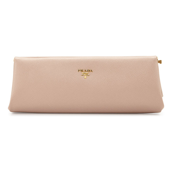 PRADA Saffiano East-West Frame Clutch - Prada saffiano leather clutch with golden hardware. Metal...