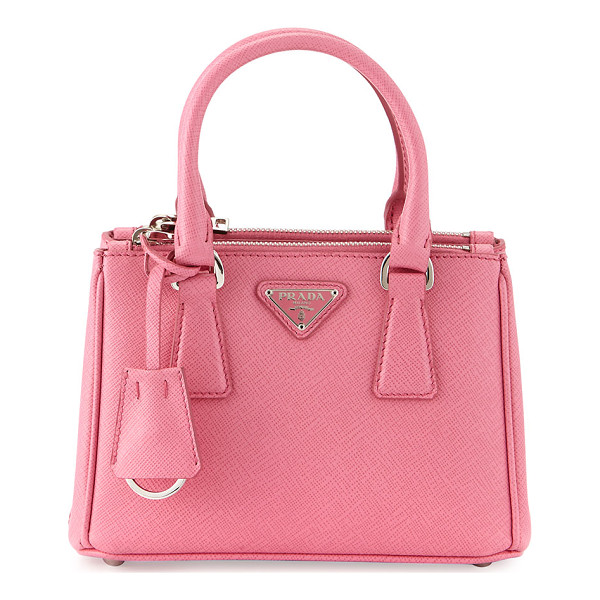 PRADA Saffiano Lux Micro Tote Bag w/Shoulder Strap - Prada saffiano leather tote bag with steel hardware. Rolled