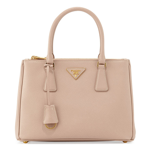 PRADA Saffiano Lux Small Double-Zip Tote Bag - Prada lux tote bag in signature saffiano calf leather.