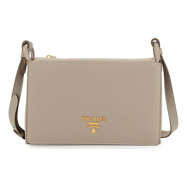 PRADA Small Leather Double-Gusset Shoulder Bag - Prada pebbled calf leather shoulder bag. Golden hardware....
