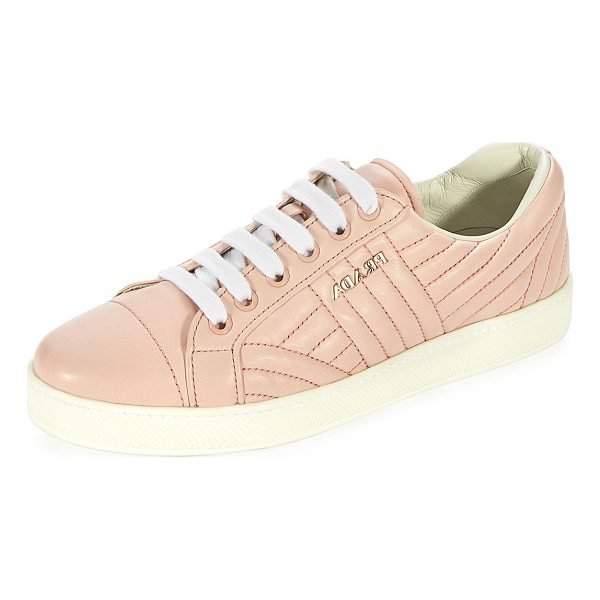 """PRADA Stitched Leather Low-Top Sneaker - Prada quilted leather sneaker with tonal stitching. 0.2""""..."""