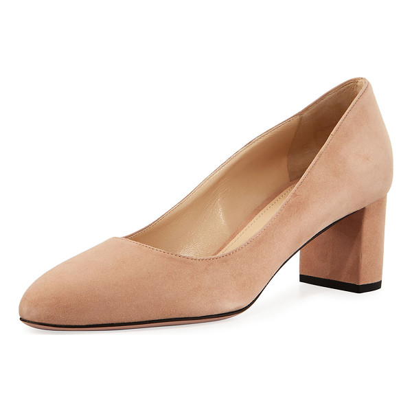 PRADA Suede 55mm Block-Heel Pump - ONLYATNM Only Here. Only Ours. Exclusively for You. Prada...