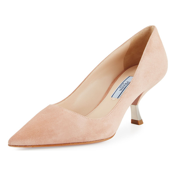 "PRADA Suede Metal-Heel Pump - Prada suede pump. 2 1/2"" curved metal-tip heel. Pointed..."