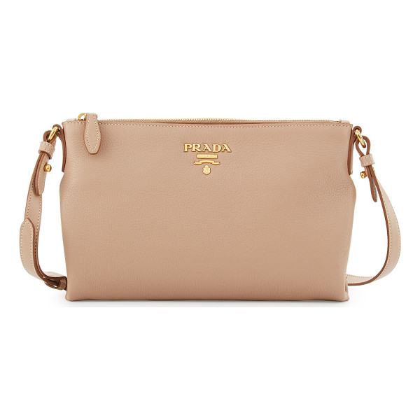 PRADA Vitello Daino Medium Pouch Crossbody Bag - Prada pebbled calf leather crossbody bag. Available in...
