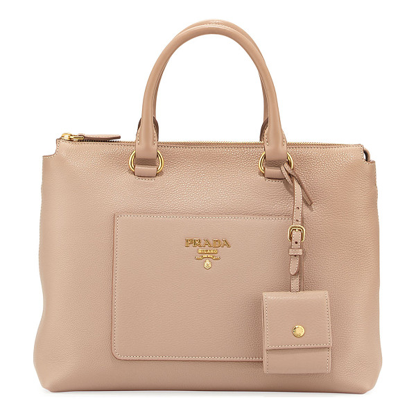 PRADA Vitello Daino Tote Bag - Prada pebbled leather tote bag with golden hardware.