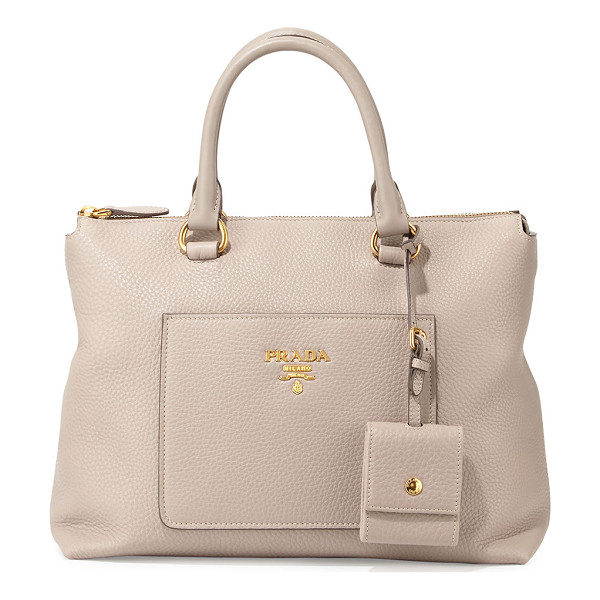 PRADA Vitello Daino Zip Tote Bag - Prada pebbled leather tote bag with golden hardware.