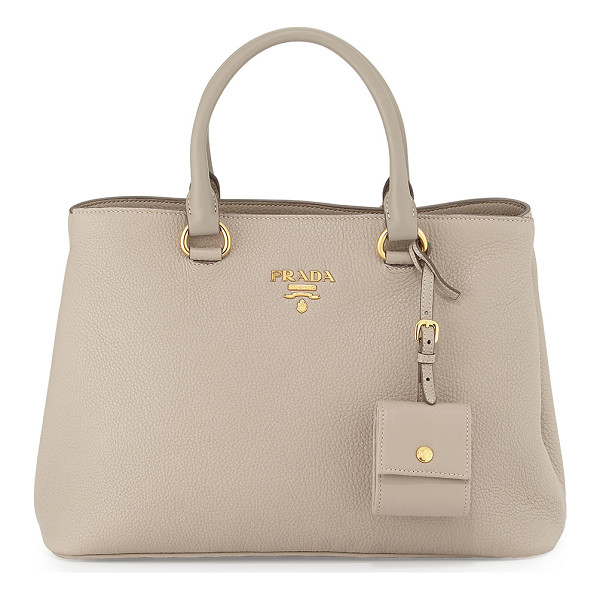 PRADA Vitello Daino Tote Bag - Prada pebbled calf leather tote bag with golden hardware....