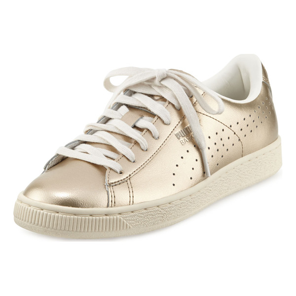 "PUMA Basket Classic Citi Metallic Low-Top Sneaker - Puma metallic calf leather sneaker. 1"" flat platform heel."
